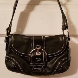 Leather Soho Coach | Black with White Stitching